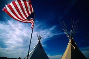 Teepees and American Flag-New Mexico-James O'Mara